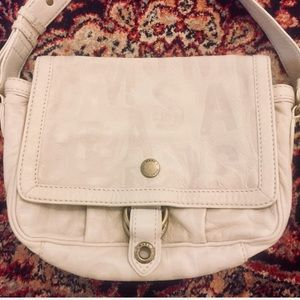 Marc Jacobs White Leather Embossed Messenger Bag